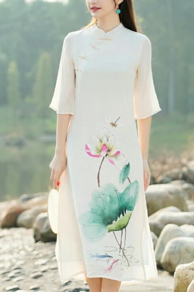 手绘仙女裙棉麻印花