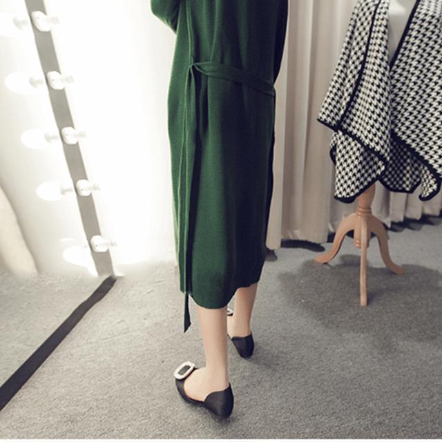 【纯色侧开叉长款针织衫连衣裙】-衣服-连衣裙_裙子