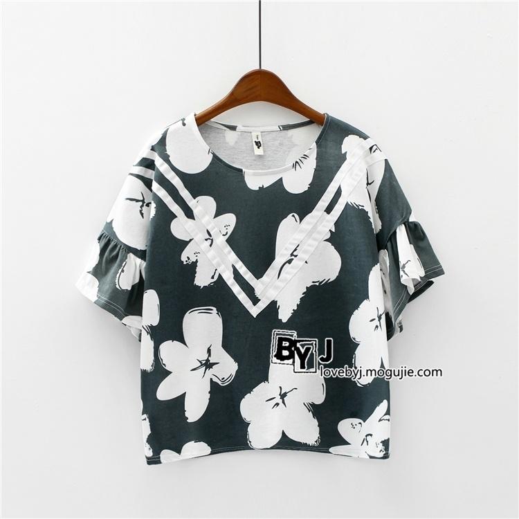 【韩国时尚花朵宽松蝙蝠衫百搭气质女生荷叶袖t恤】
