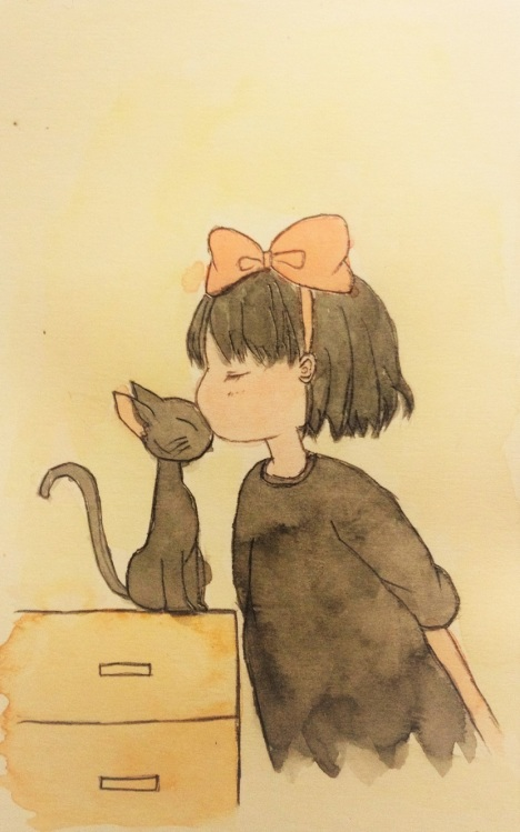 明信片,手绘,猫咪,动漫