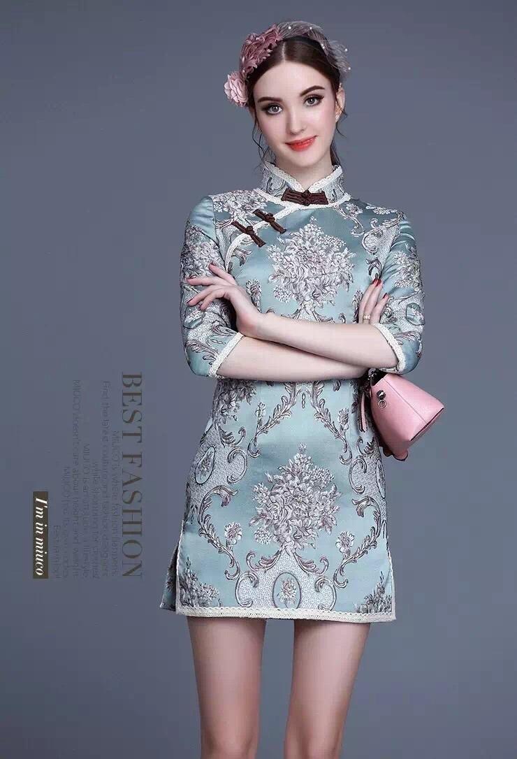 欧美大牌复古宫廷欧式花纹古典旗袍 连衣裙