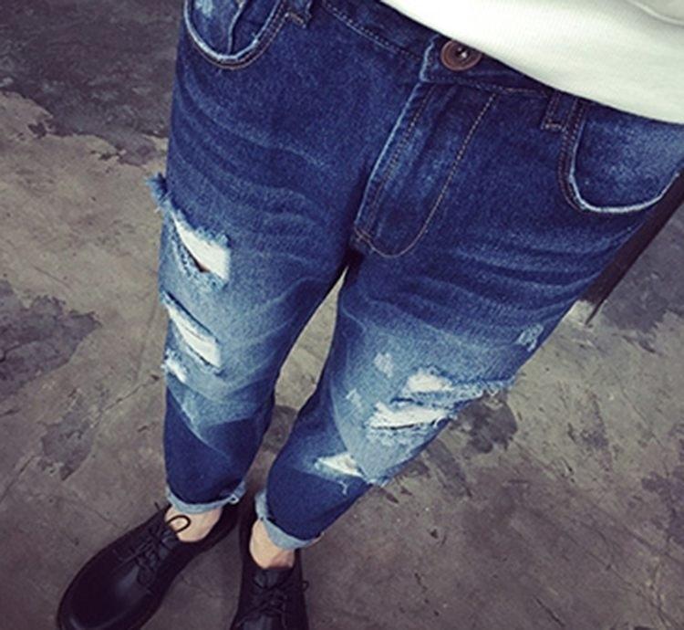 【【ns】男士新款破洞九分牛仔裤】-男装-牛仔裤