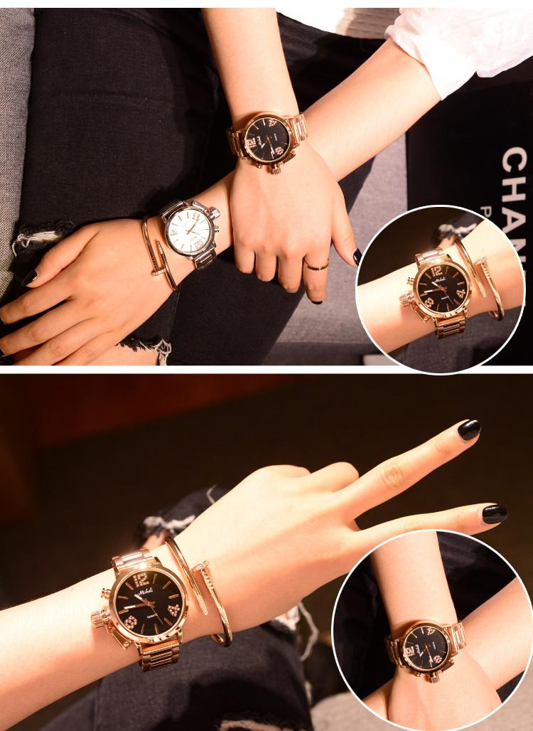 欧美范个性炫酷霸气大表盘学生手表 钢带女表 闺蜜石英表
