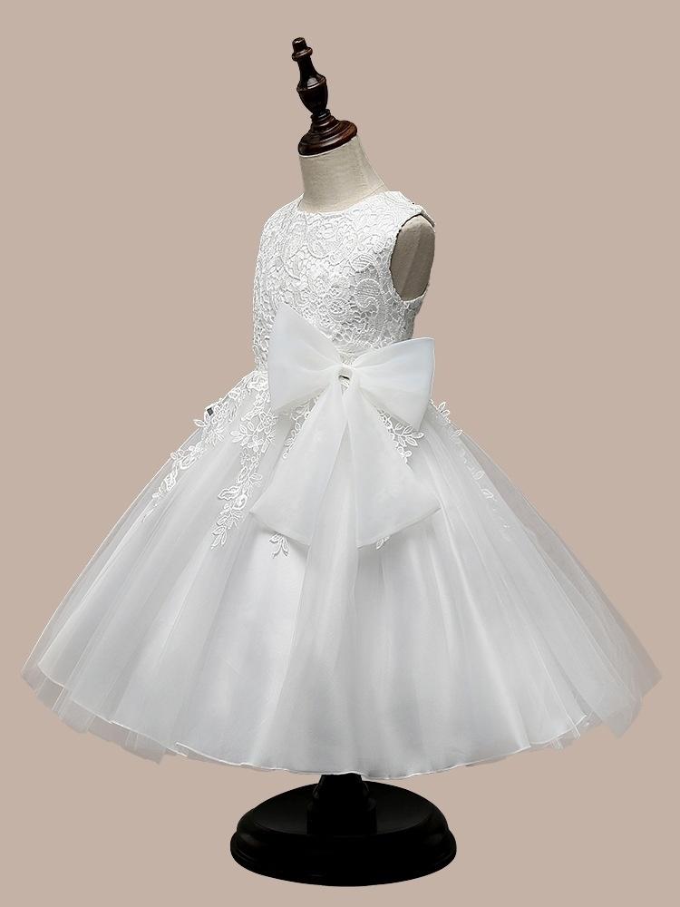 外女童连衣裙蝴蝶结公主裙白色婚纱礼服童裙