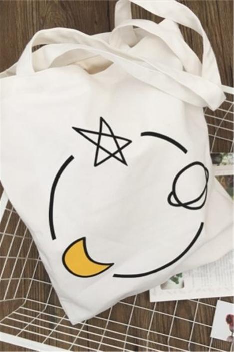 韩国简笔画原宿帆布单肩包女手提袋学生童趣印花袋