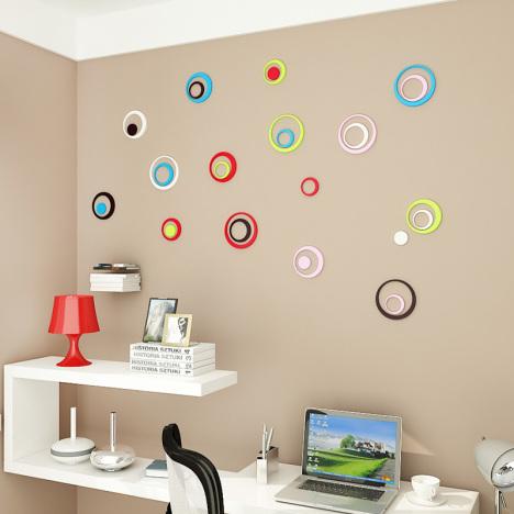 圆圈3d木质立体墙贴圆环墙贴面装饰品 客厅卧室创意墙贴