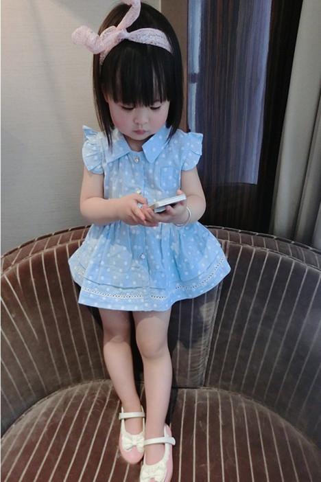 夏款童装,韩版女童裙,新款中小童纯棉,可爱公主圆点,开衫连衣裙