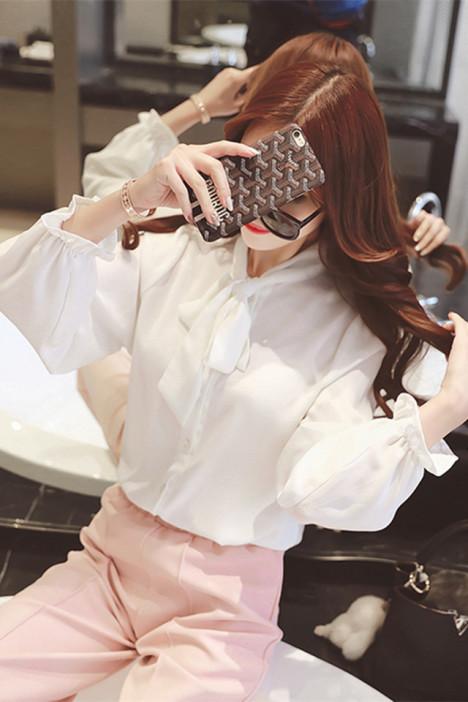 【蝴蝶结领雪纺衬衫】-衣服-服饰鞋包
