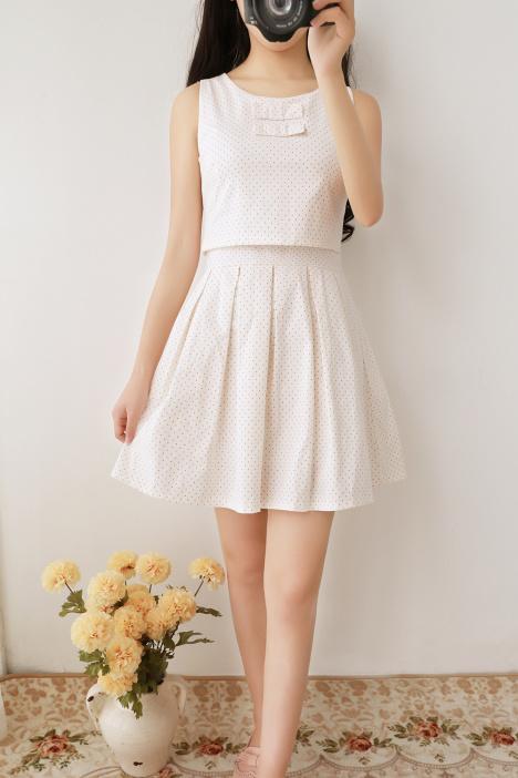 【学院风甜美小清新波点连衣裙】-衣服-裙子