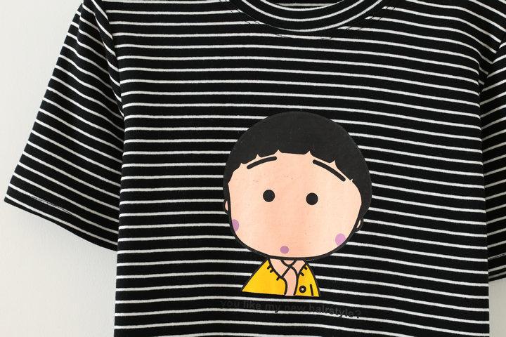 新款超可爱小丸子条纹印花t恤