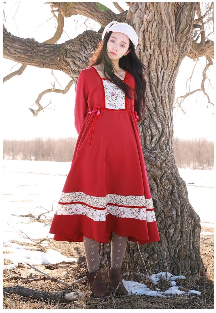 【栗同学原创秋冬款红色洛丽塔拼接花纹连衣裙女复古