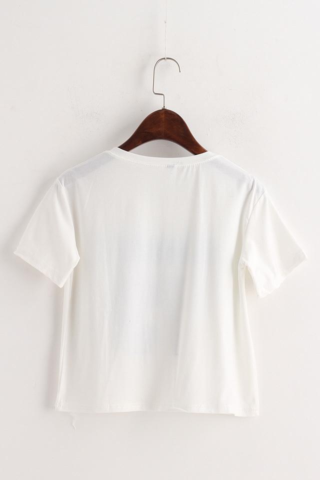 帽子字母印花短款t恤