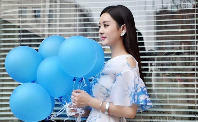 夏季新款明星赵丽颖同款印花露肩连衣裙