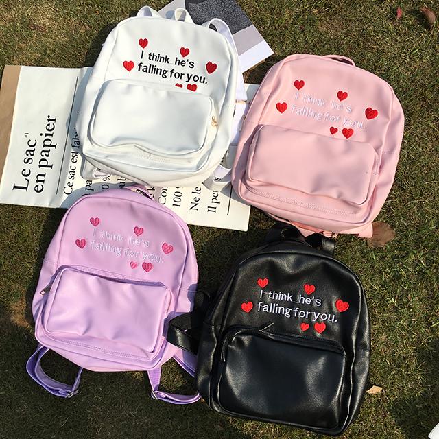 韩国日本原宿软妹刺绣爱心双肩包字母可爱背包学生书包女旅行包