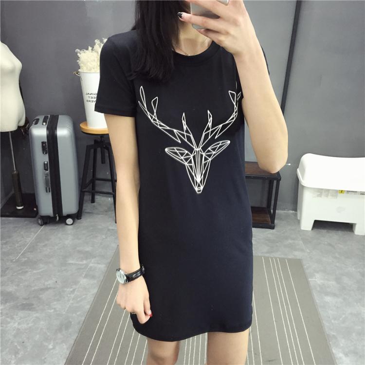 小清新女装 韩版新款卡通线条鹿印花中长款短袖t恤