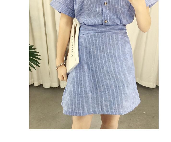 【太阳的后裔宋慧乔同款条纹衬衫裙】-衣服-裙子__鞋
