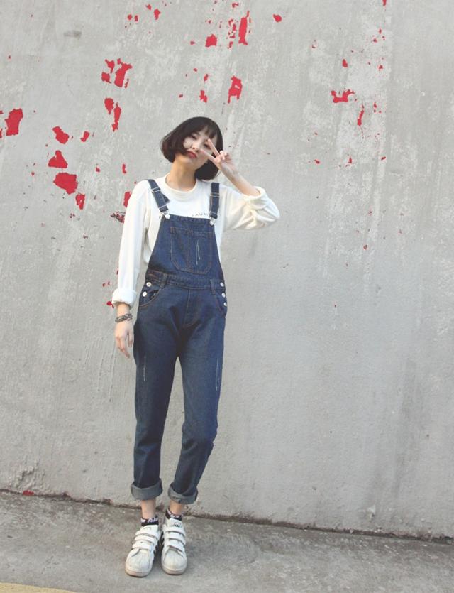 韩国减龄可爱牛仔背带裤