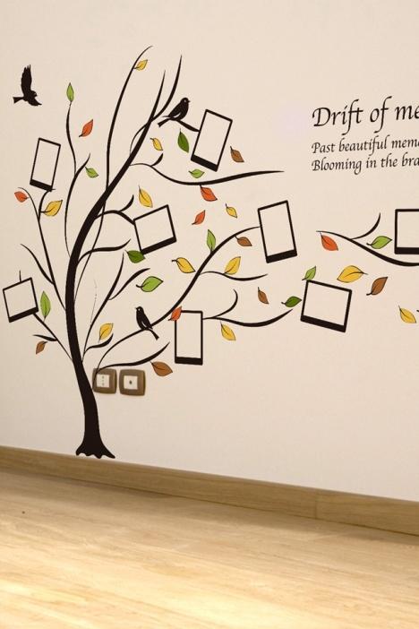 秋风落叶相框树墙贴纸