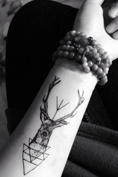 纹身贴,鹿头纹身贴,防水纹身贴,纹墨轩纹身贴,黑白纹身贴纸
