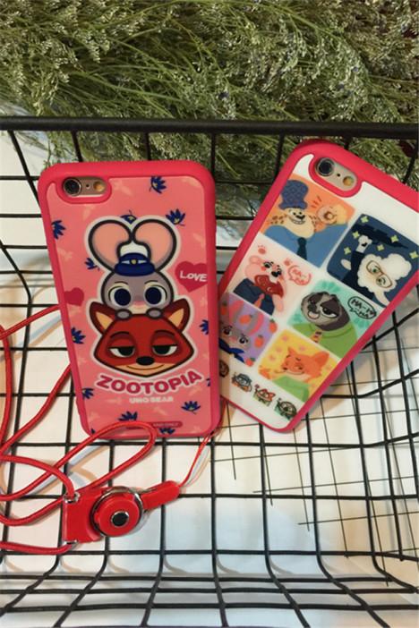 【卡通可爱疯狂动物城iphone6s手机壳苹果5s硅胶挂绳
