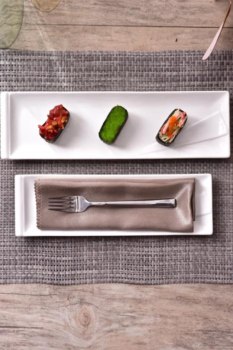 简约纯白色陶瓷家用餐具寿司盘个性饭店长方形菜盘子点心盘蛋糕盘